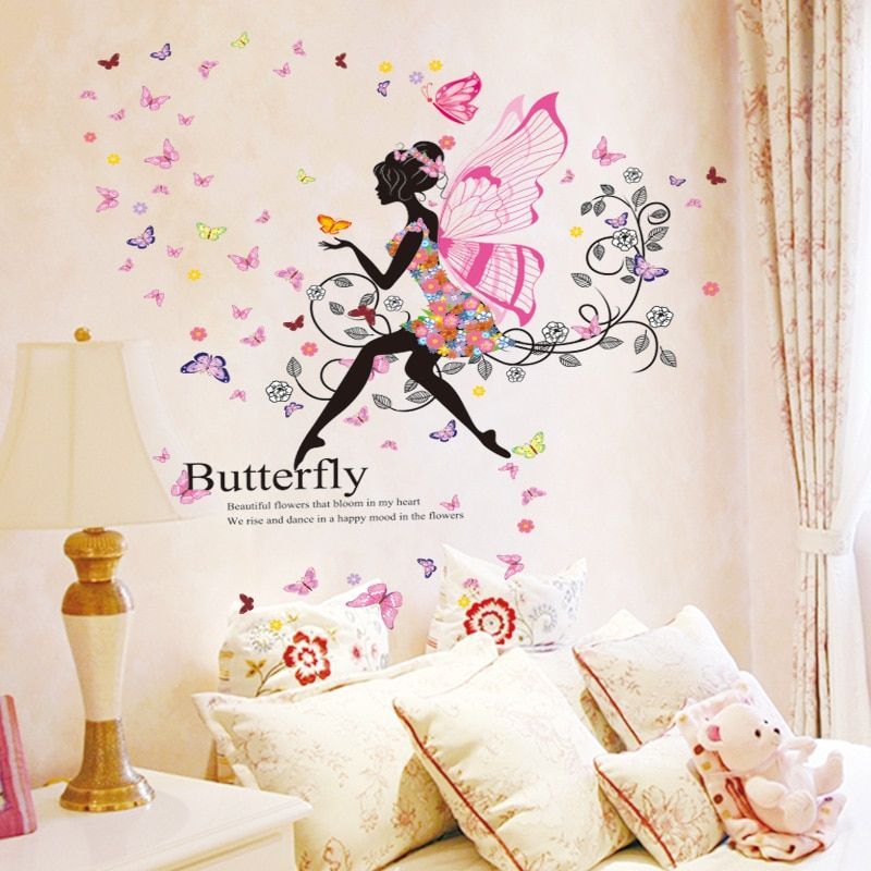 [SHIJUEHEZI] autocollants muraux fille aile vinyle fleurs bricolage fées Papillon Stickers muraux pour enfants chambre maternelle décoration de la maison