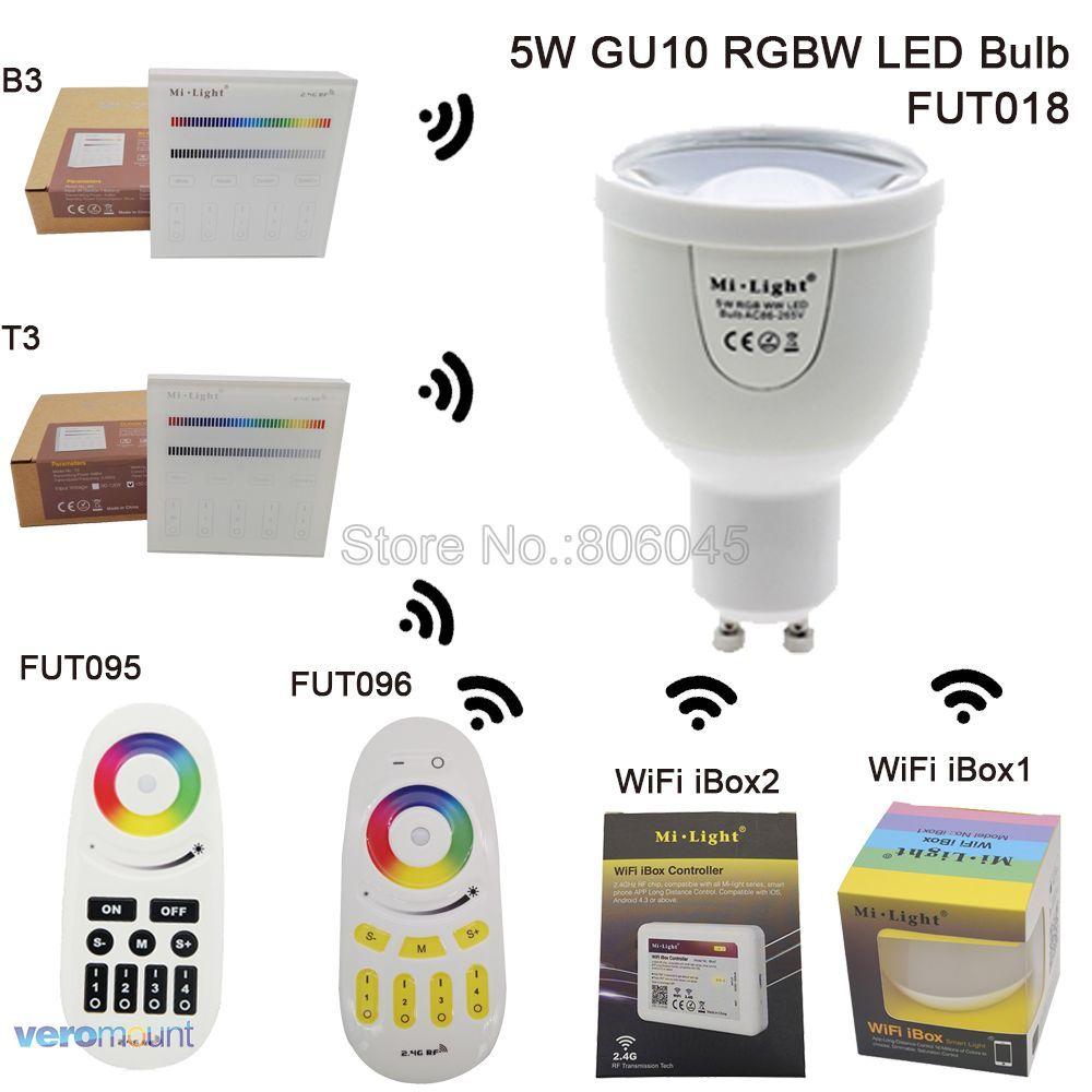 2.4G Mi. lumière GU10 5 W RGB + blanc (RGBCW) RGB + blanc chaud (RGBWW) ampoule LED FUT018 Wifi Compatible et luminosité réglable