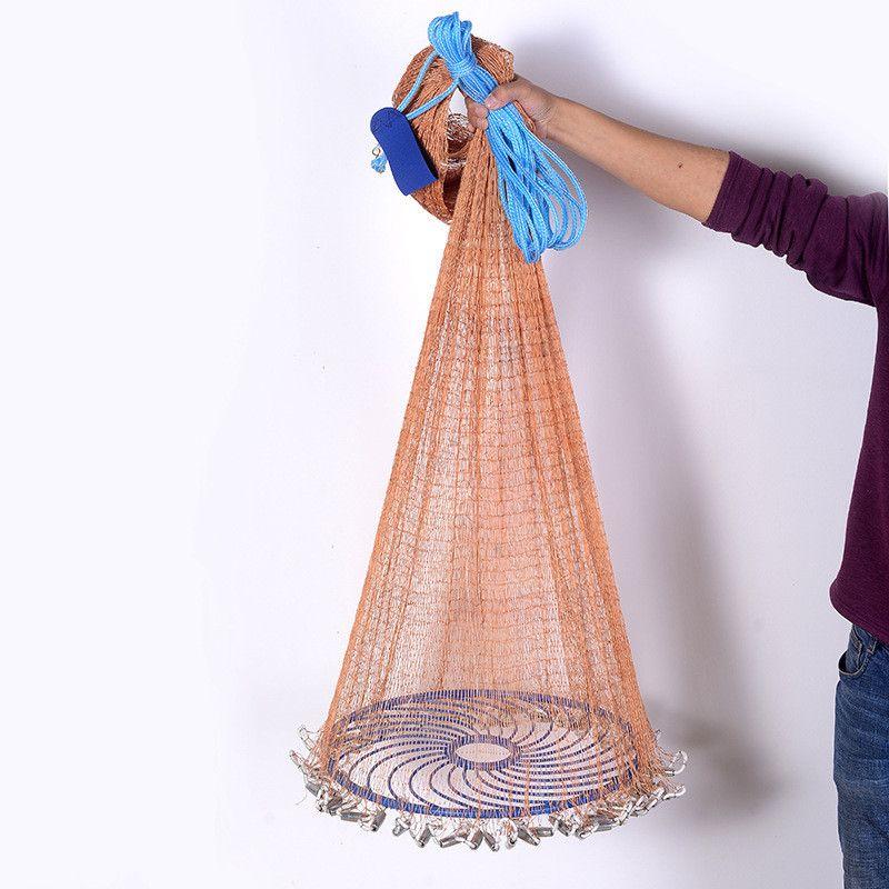 Verbesserte Fliegen Disc Amerikanische Hand Cast Fischernetz mit Blei Platinen 300 360 420 480 540 600 720 cm Werfen net Angeln Werkzeuge