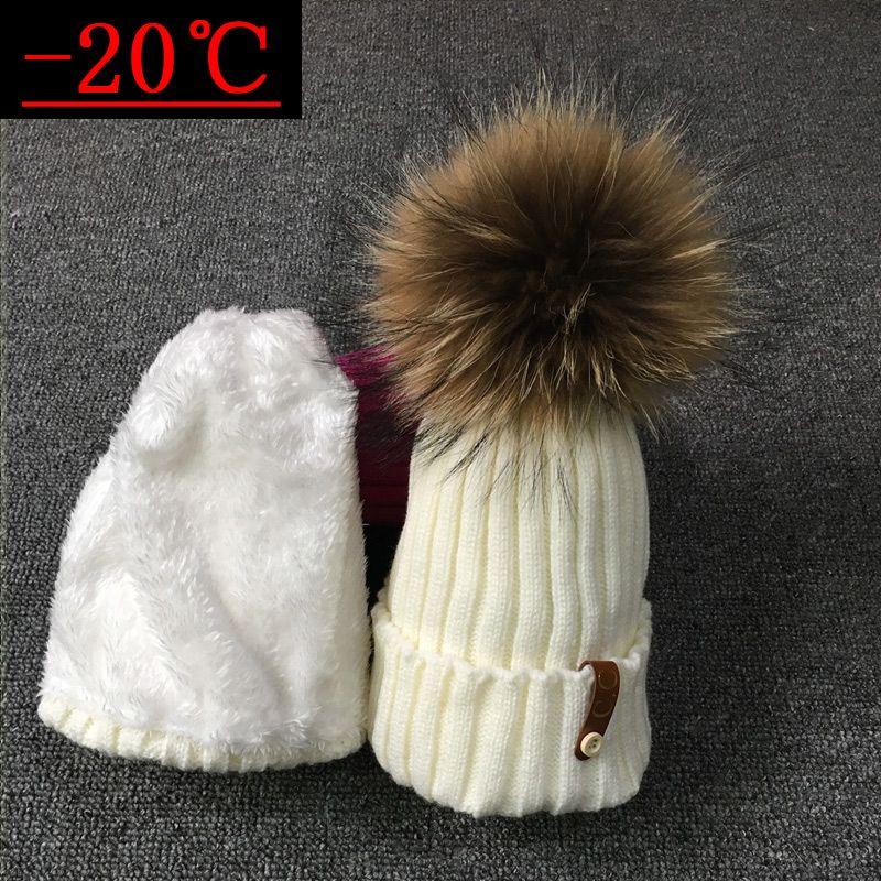 2017 brand winter hat for women High quality beanies cap real Raccoon fur pompom women hats bonnet femme girls casual hat