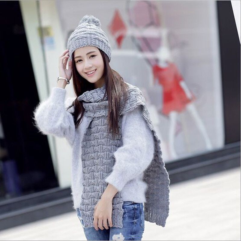 Warm Acrylic Winter Scarf Fashion Women's Scarf Knitted Beanies Bonnet Caps Female Black Hat Scarves Set