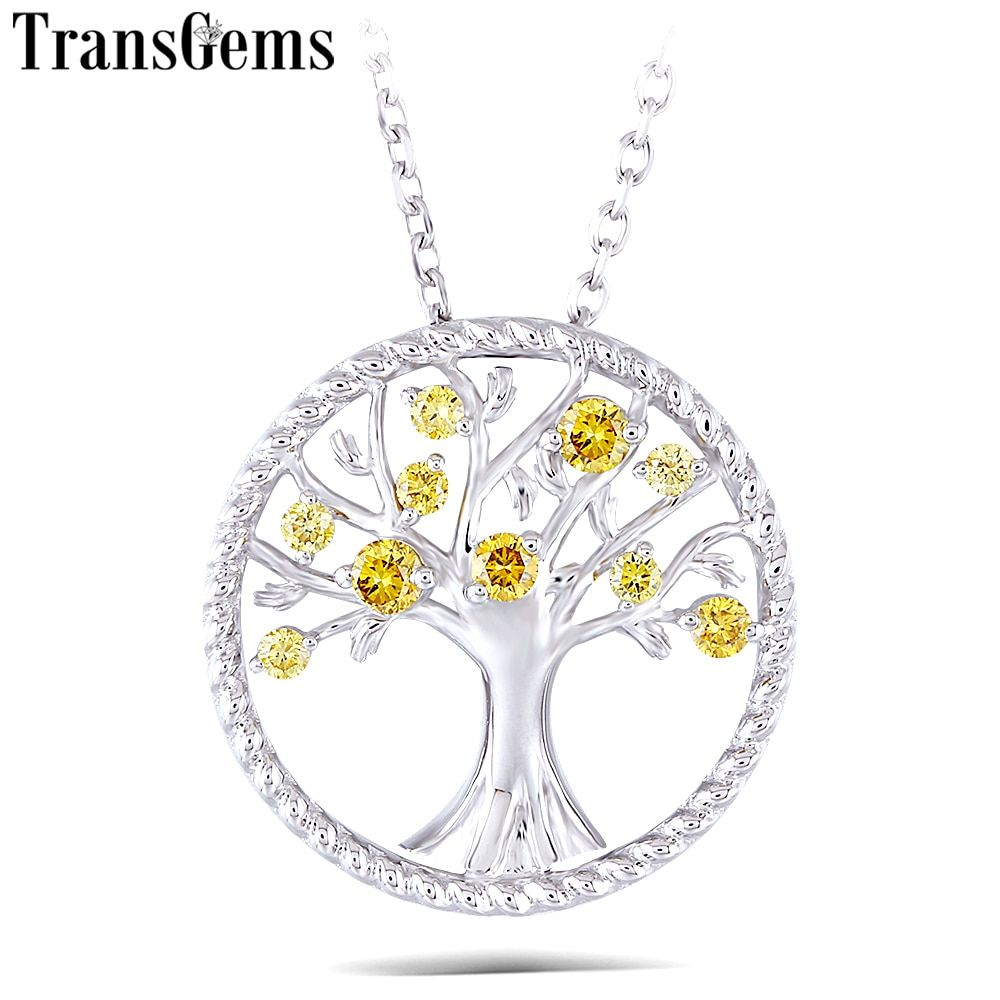 Transgems Yellow CVD Diamond 18K 750 White Gold Diamond Pendant Necklace for Women Wedding Gift Tree Shaped Pendant Link Chain