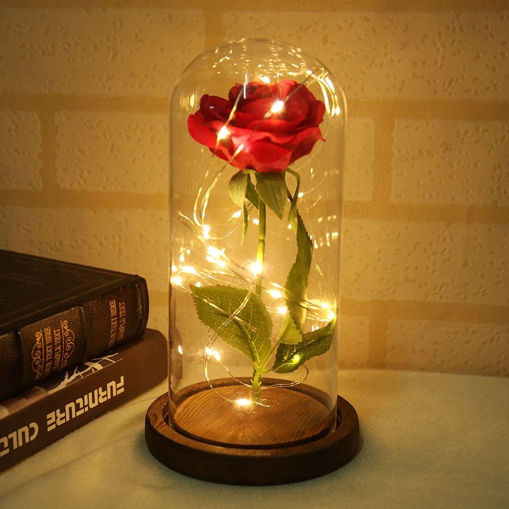 La belle et la bête Rose rouge dans un dôme de verre sur une Base en bois pour les cadeaux de la saint-valentin LED lampes Rose de noël