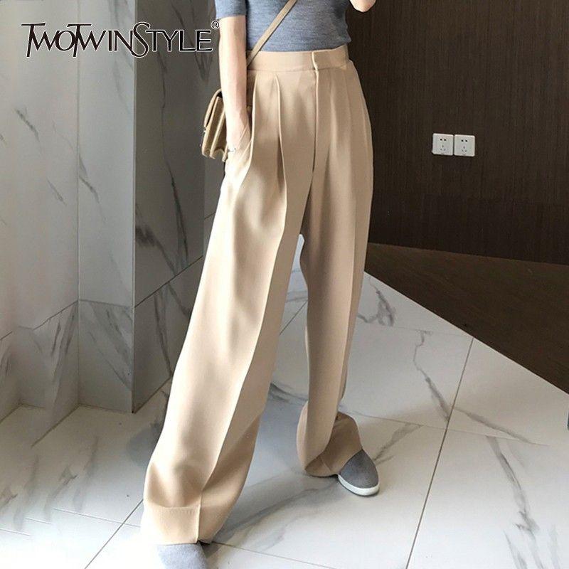 Deuxtwinstyle pantalon pour femmes taille haute casual lâche large jambe pantalon femme 2019 automne coréen mode élégant marée