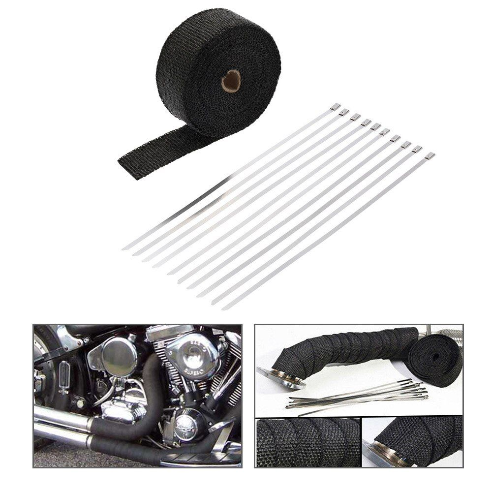 10m*5cm*1.5mm Exhaust Pipe Manifold Header Heat Wrap Resistant Downpipe 10 Stainless Steel Ties motorcycle exhaust accessories