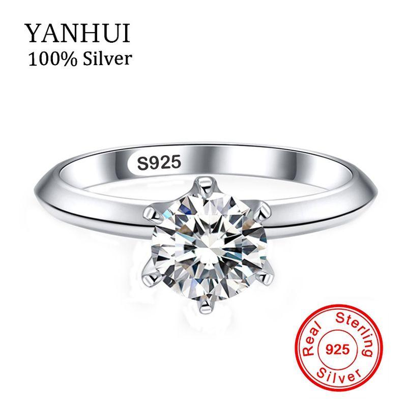 YANHUI Fine Jewelry 100% Sólido 925 Anillos de Plata Del Embutido 6mm Diamant CZ Anillos de Compromiso Anillos de Dedo Hembra Con la Estampilla S925 JZR003