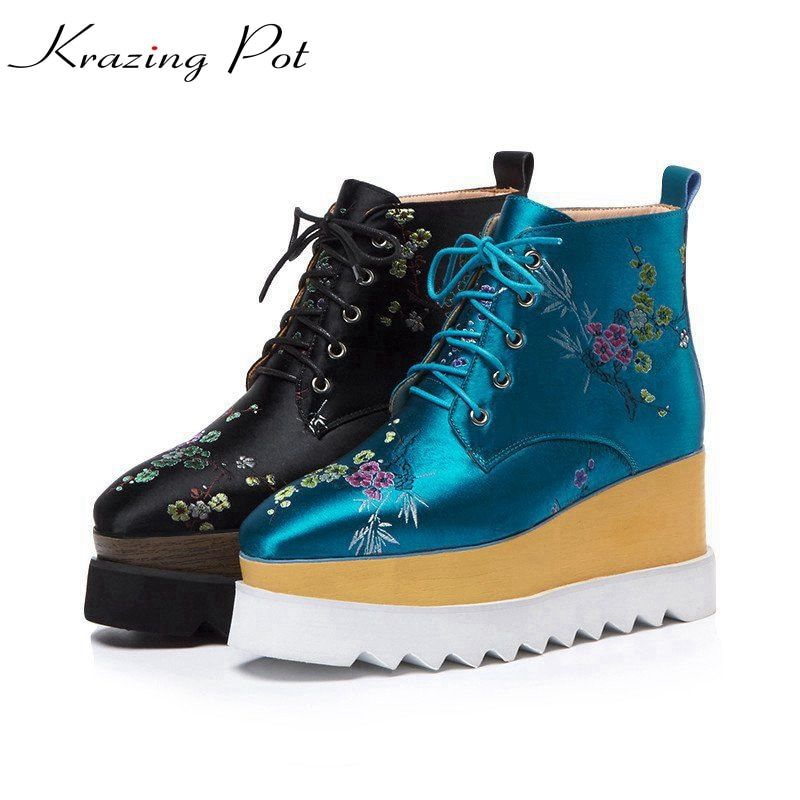 Krazing Pot 2018 new arrival silk embroidery oriental fashion winter lace up boots classic wedges runway women ankle boots L31