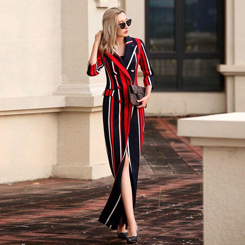 VERRAGEE Women 2017  New Vintage Autumn Winter Long Trench Coat Three Quarter Sleeve Big Size Brand Elegant Maxi Striped Coat