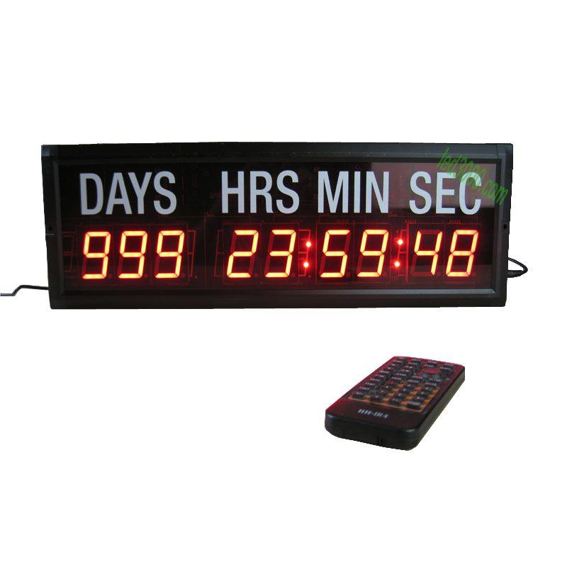 1.8 pouces couleur rouge 9 chiffres jours, heures, minutes et secondes minuterie compte à rebours LED avec autocollant blanc télécommande montage mural