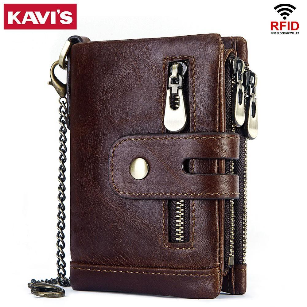 KAVIS Rfid Genuine Cow Leather Wallet Men Coin Purse Male Cuzdan PORTFOLIO MAN Portomonee Small Min Walet Pocket Fashion Hasp