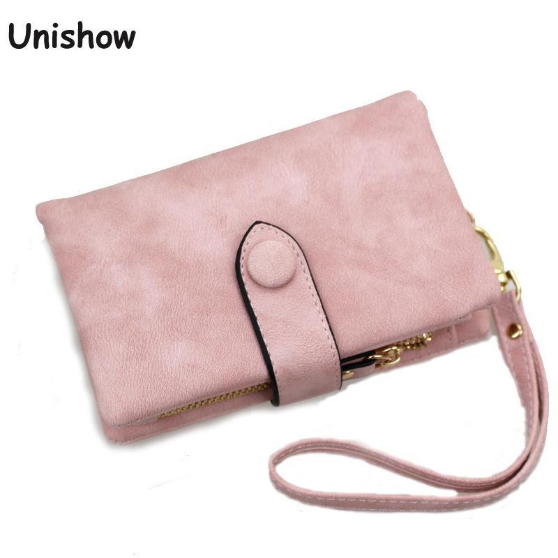 Unishow portefeuille pour femmes triple petit sac à main féminin gommage cuir femmes portefeuille court solide fermeture à glissière porte-monnaie porte-cartes