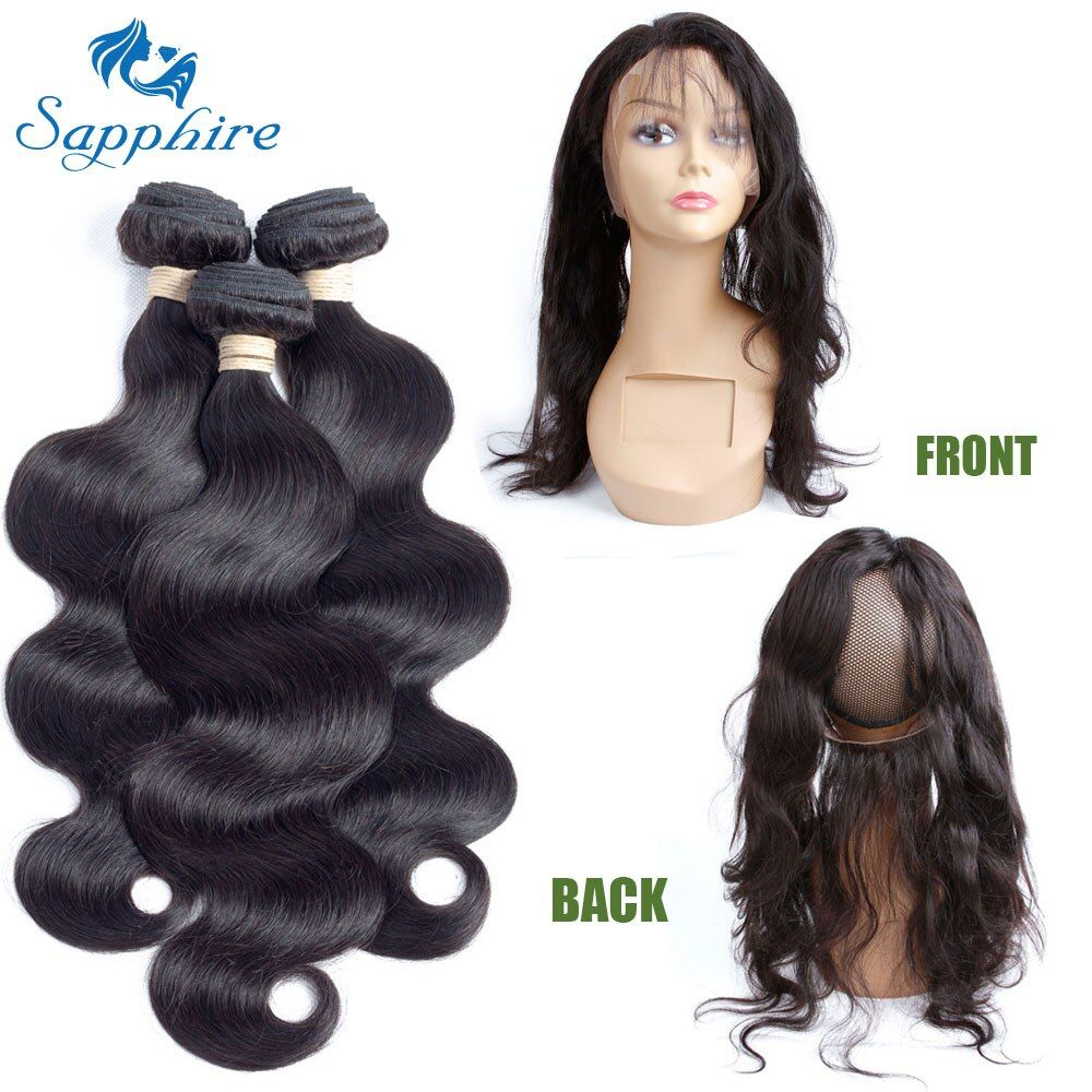 Sapphire Body Wave Remy Human Hair Bundles With 360 Lace Frontal Closure 1B Color For Hair Salon High Ratio Longest Hair PCT 15%