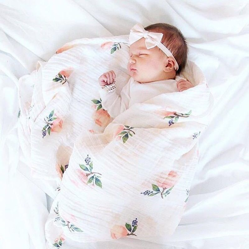 INS Chaud Bébé Couverture NewbornSwaddle 120x120 cm Super Doux Respirant Multi-usage Mousseline Enveloppe Coton Citron Cactus couvertures de bébé
