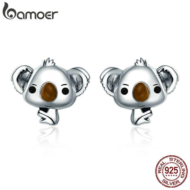 BAMOER Echtes 100% 925 Sterling Silber Tier Niedlicher Koala-bär Ohrstecker für Frauen Sterling Silber Schmuck Geschenk SCE381