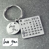 Fathers Day Sale,Personalized Calendar Keychain,Signature calendar key chain Hand Stamped Calendar, Date highlighted with heart