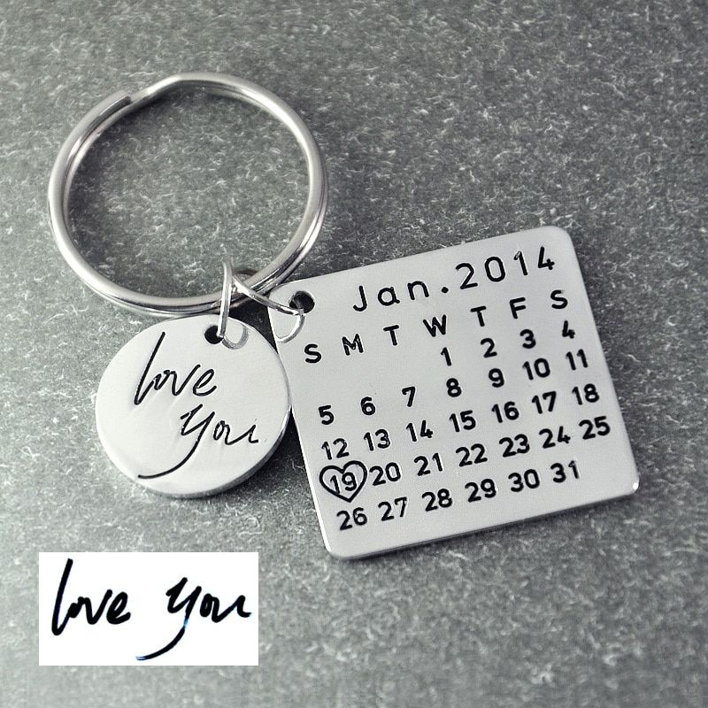 Fathers Day Sale,Personalized Calendar Keychain,Signature calendar key chain <font><b>Hand</b></font> Stamped Calendar, Date highlighted with heart