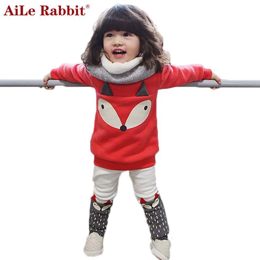 Aile Rabbit/2016 Осень-зима комплект одежды для маленьких девочек, милая детская одежда 2 шт. топ с рисунком лисы с длинными рукавами + штаны