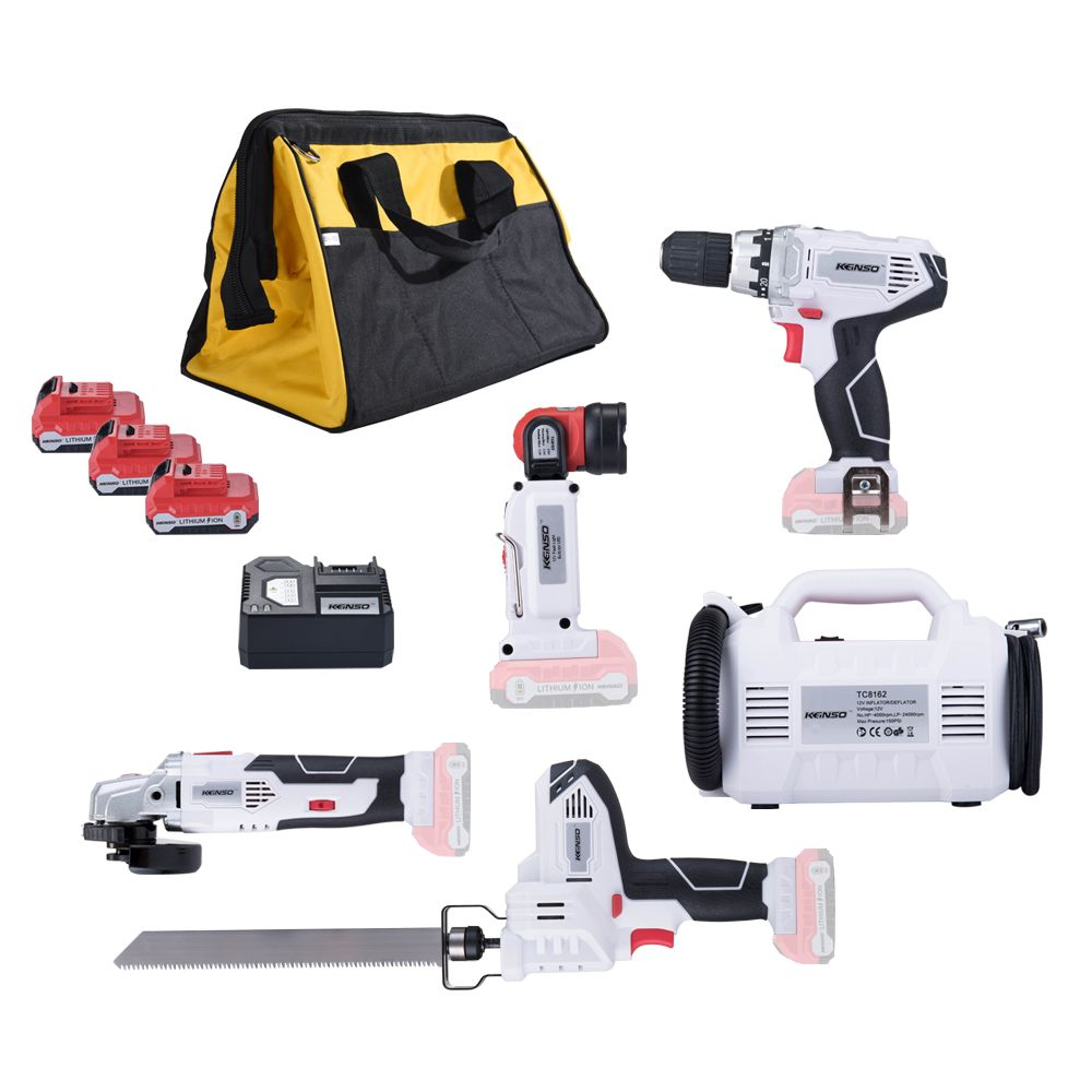 5-Piece KEINSO 12-Volt Lithium-Ion Cordless Power Combo Kit Power Tool Combination 5-Tool Combo Kit 2.0Ah Battery With Bag