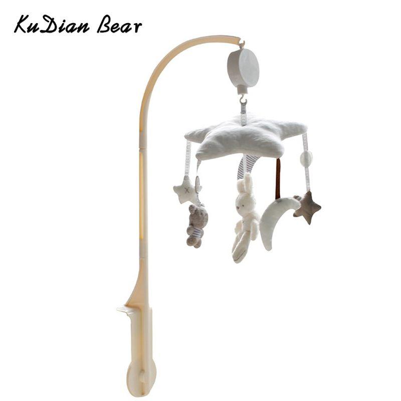 KUDIAN BEAR Baby <font><b>Toys</b></font> Baby Mobile Crib Rabbit Musical Box with Holder Arm Music Newborn Rotating Bed Bell Plush <font><b>Toy</b></font> BYC078 PT49