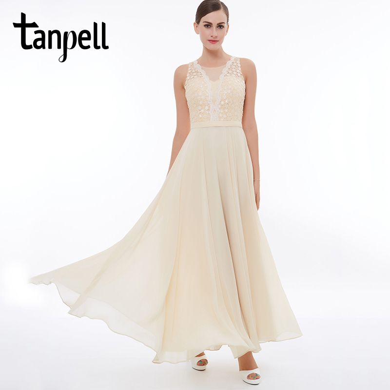 Tanpell champagne long evening dress cheap lace Ankle-Length sleeveless O-Neck A-Line dress women wedding formal evening dresses