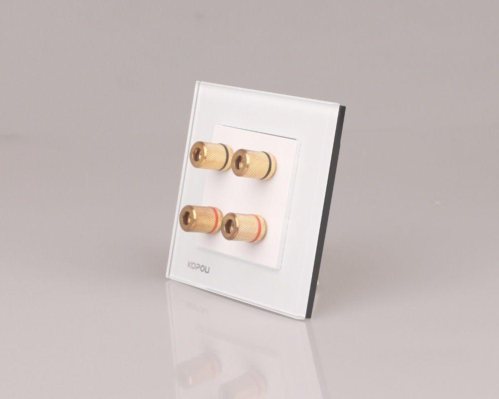 Expédition de baisse soutenue, Panneau Verre Cristal blanc, 2 Gang Accueil Mur du Son/Acoustique Socket/haut-parleur prise KTV005-W