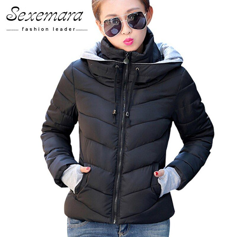 2017 Women Basic Down Top Jacket Plus Size Female Coat Slim Autumn Winter Parkas Collar Outerwear Long Sleeve Casual Jackets