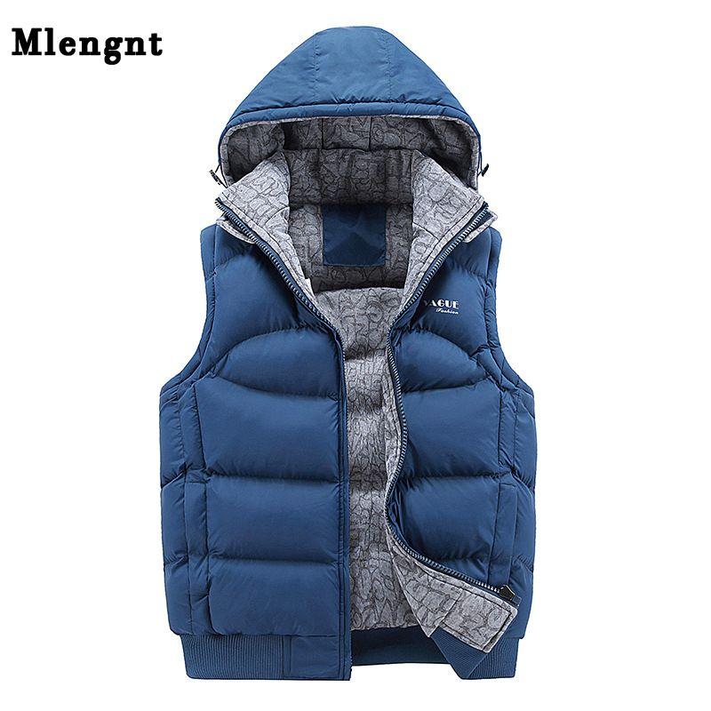 Fashion Sleeveless Jacket 2017 Men <font><b>Thickening</b></font> 100% Cotton Vest Hat Hooded Warm Vest Winter Waistcoat Men Casual Windbreaker