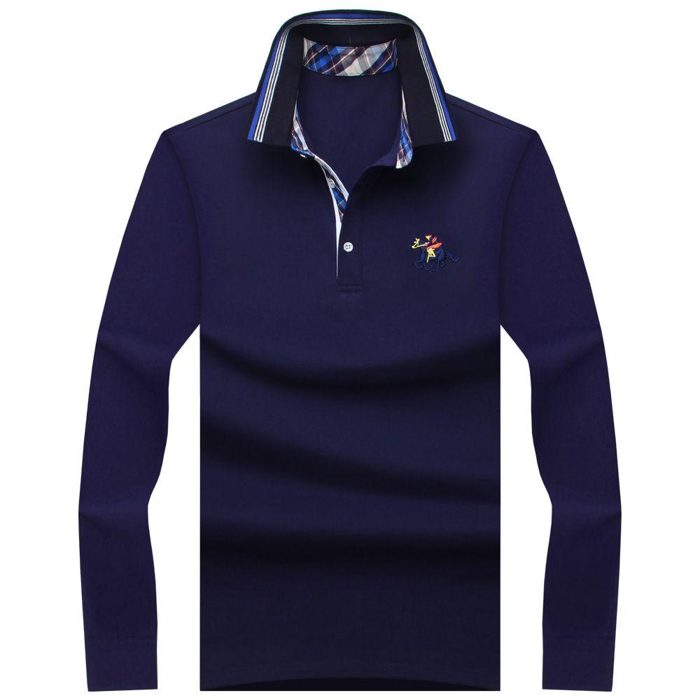 2019 nouveau classique hommes polos à manches longues printemps hommes chemise marques Camisa Polo Masculina grande taille 6XL 7XL 8XL 9XL 10XL