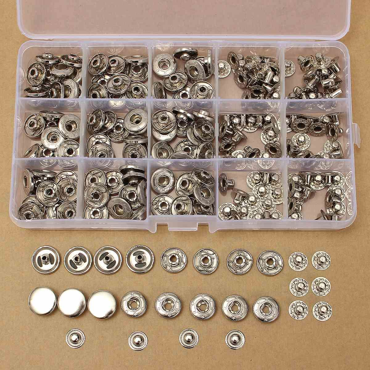 MTGATHER 100 Sätze Metall 15mm Silber Druckknöpfe Presse Stud Taste Leder Tool Kit Langlebig Und Praktische Besten Preis