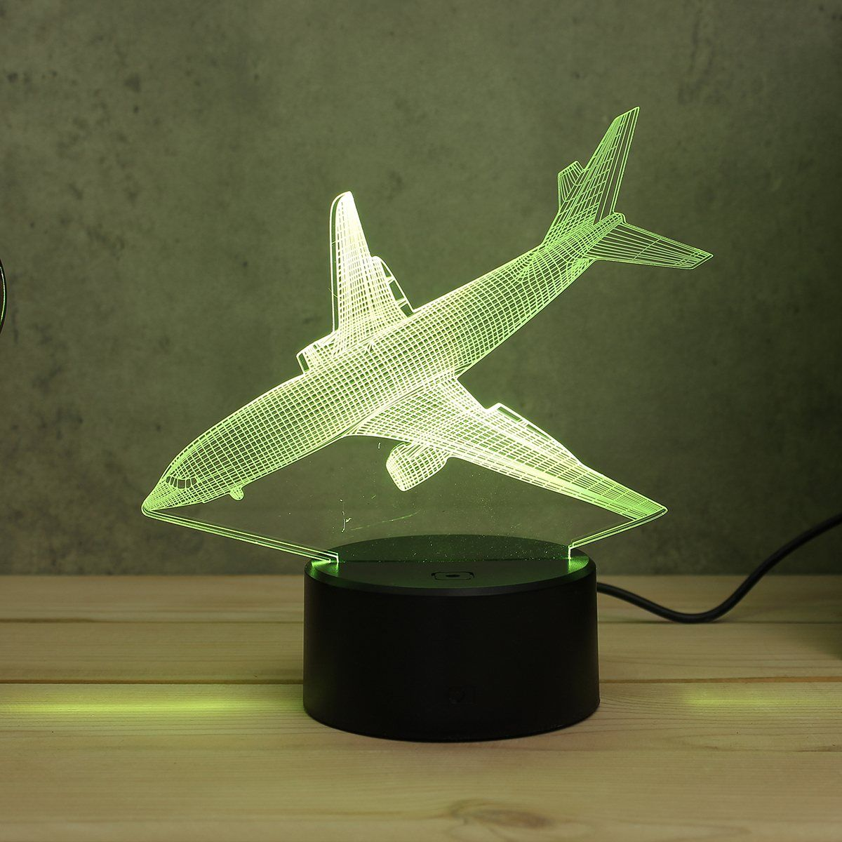 Aircraft Airplane Acrylic LED 3D LED Night Light Toys Lamp Air Plane Night Touch Table 7 Color Desk Light DC5V For Kid Christmas