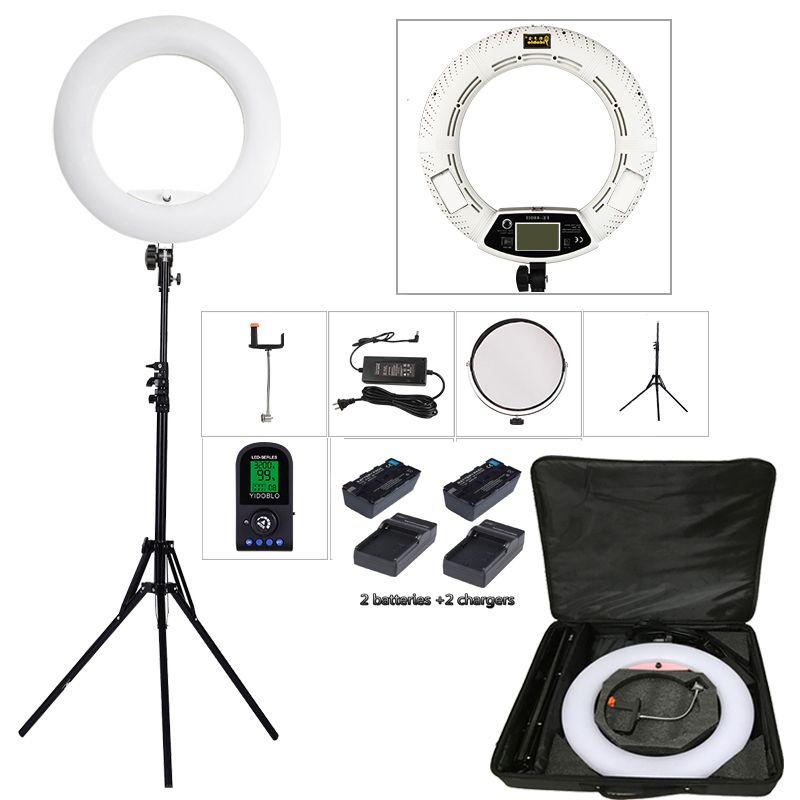 Yidoblo FE-480II Zwei farbe Einstellen Ring Licht 480 LED Lampe Video Make-Up selfie Fotografie Beleuchtung + 2 M stehen + tasche + batterie