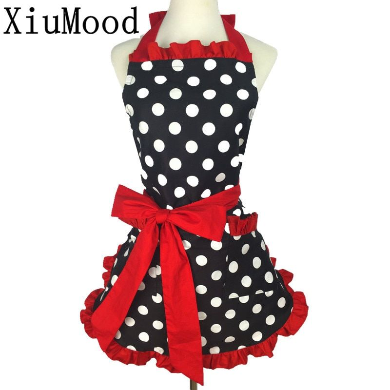 XiuMood New Cute Bib 100% Cotton Apron Dress Flirty Vintage Kitchen Women Dots With Lace Pocket Gift