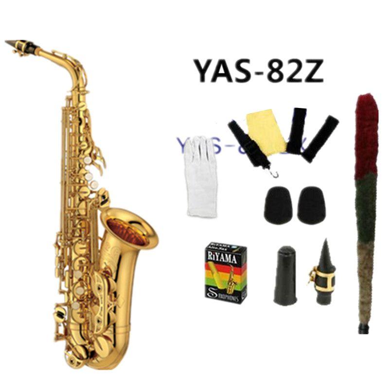 Hohe qualität alto saxophon Yas 82Z Eb Gold alto saxopho Goldene Sax Top Jazz instrument professional grade Durchführung Mit Fall