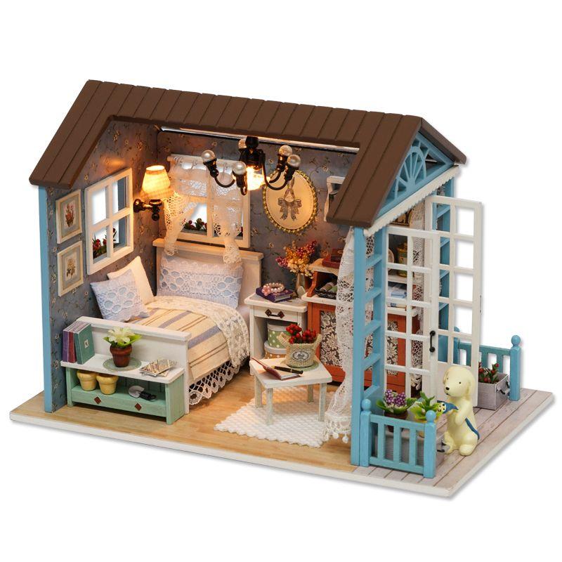 CUTEBEE maison de poupée maison de poupée miniature à monter soi-même avec meubles en bois maison jouets pour enfants cadeau d'anniversaire Z007