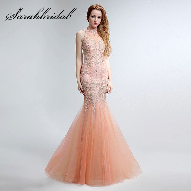 Lace Blush Mermaid Evening Dresses with Embroidery 2017 High Neck Zipper Back Designer Party Prom Gowns Sweep Train LX153
