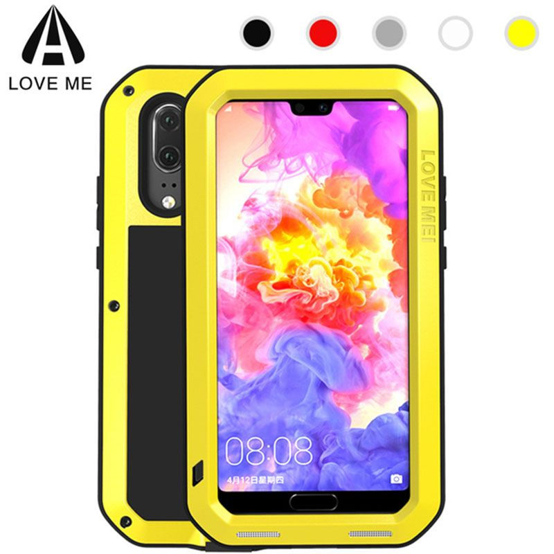 Huawei P20 Pro Armor Cover Love Mei Aluminum Metal Shockproof Case For Huawei P20 Pro P20pro Gorilla Glass Full Phone Shell