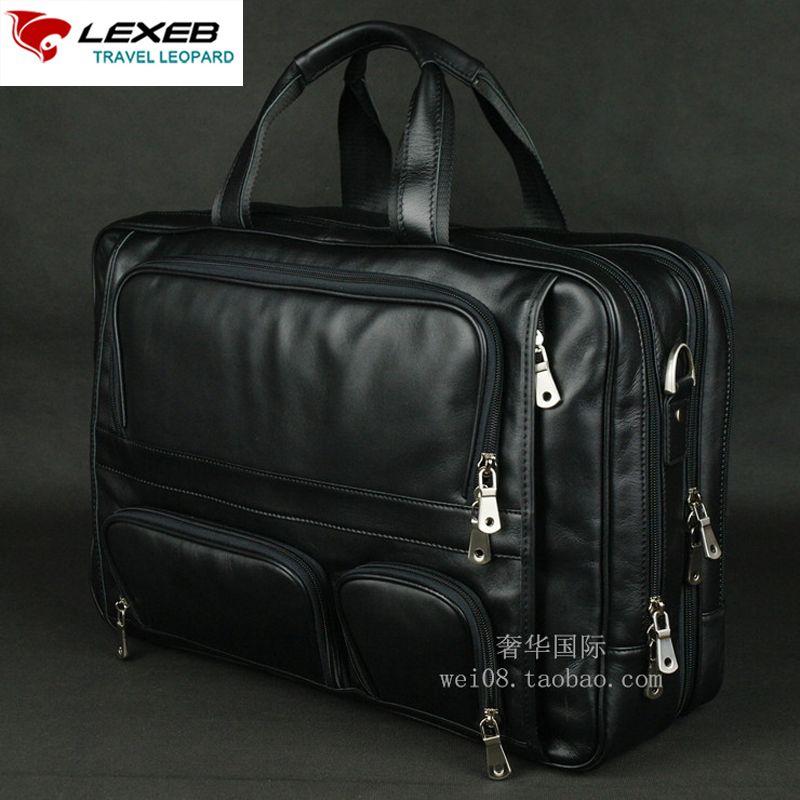 Lexeb бренд Для мужчин кожаные Портфели 17