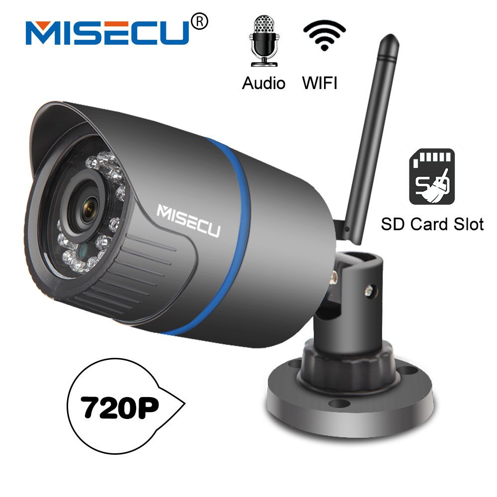 MISECU H.264+Wifi <font><b>camera</b></font> Audio built SD card 2.8mm Wifi 1280*720P P2P ONVIF Wireless email alert Night vision IR Outdoor CCTV