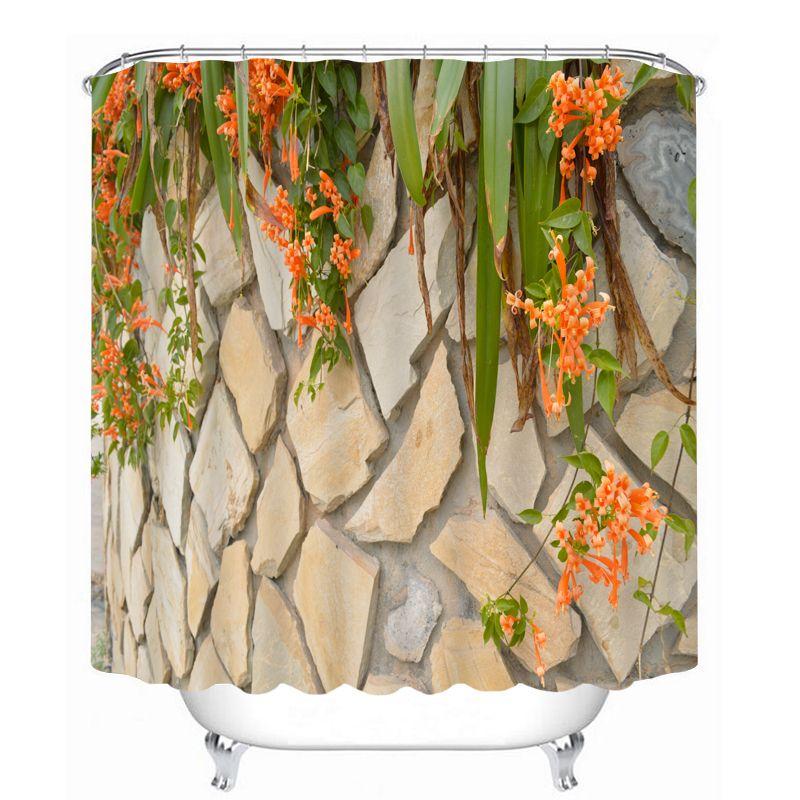 MYRU 3D Print Waterproof Flower Shower Curtains Bath Products Bathroom Decor with Hooks