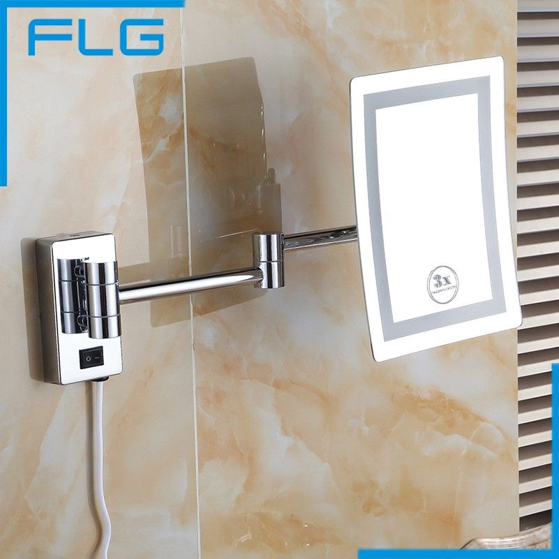 Makeup Mirrors LED Wall Mounted Extending Folding Single Side LED Light Mirror 3x Magnification Bath Mirror Toilet Mirror
