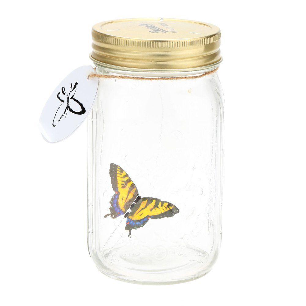 Романтический Стекло светодиодные лампы Бабочка Jar Валентина Детский подарок украшения желтый