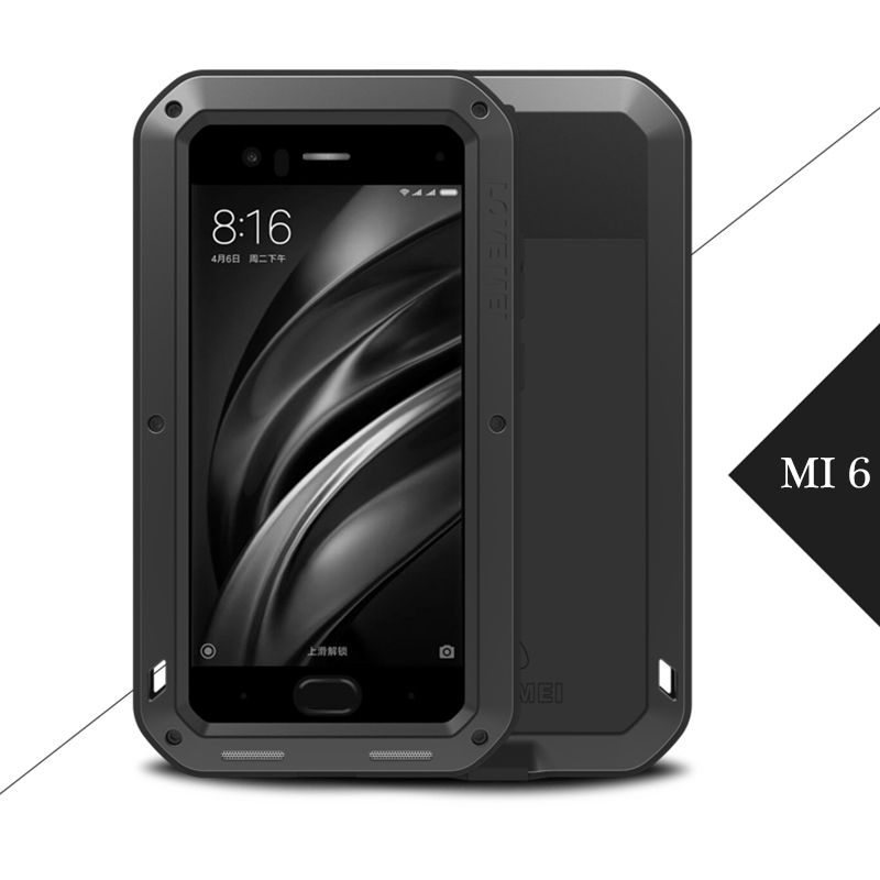 Für XiaoMi Mi 6 Fall, Original Love Mei Metall Aluminium Leistungsstarke Fall Für XiaoMi Mi6 Stoßfest Abdeckung w/gehärtetem Glas