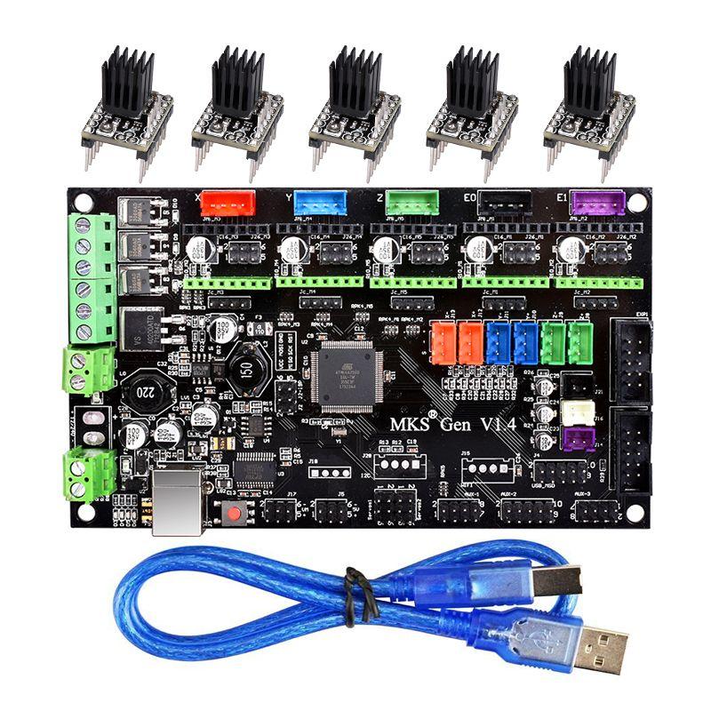3D-принтеры Запчасти МКС Gen V1.4 Управление доска Mega 2560 R3 материнской RepRap Ramps1.4 + TMC2100/TMC2130/TMC2208/DRV8825 драйвер