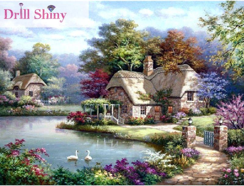 5D bricolage diamant peinture maison cottage paysage point de croix mur autocollant plein carré forage diamant ruban broderie artisanat