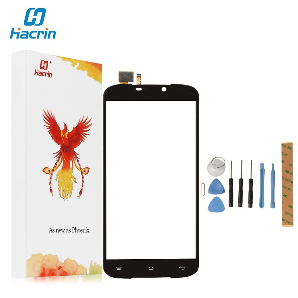 Hacrin For DOOGEE X6 Touch Screen+Tempered Glass 100% New Digitizer Glass Panel Replacement For DOOGEE X6 5.5inch Mobile Phone