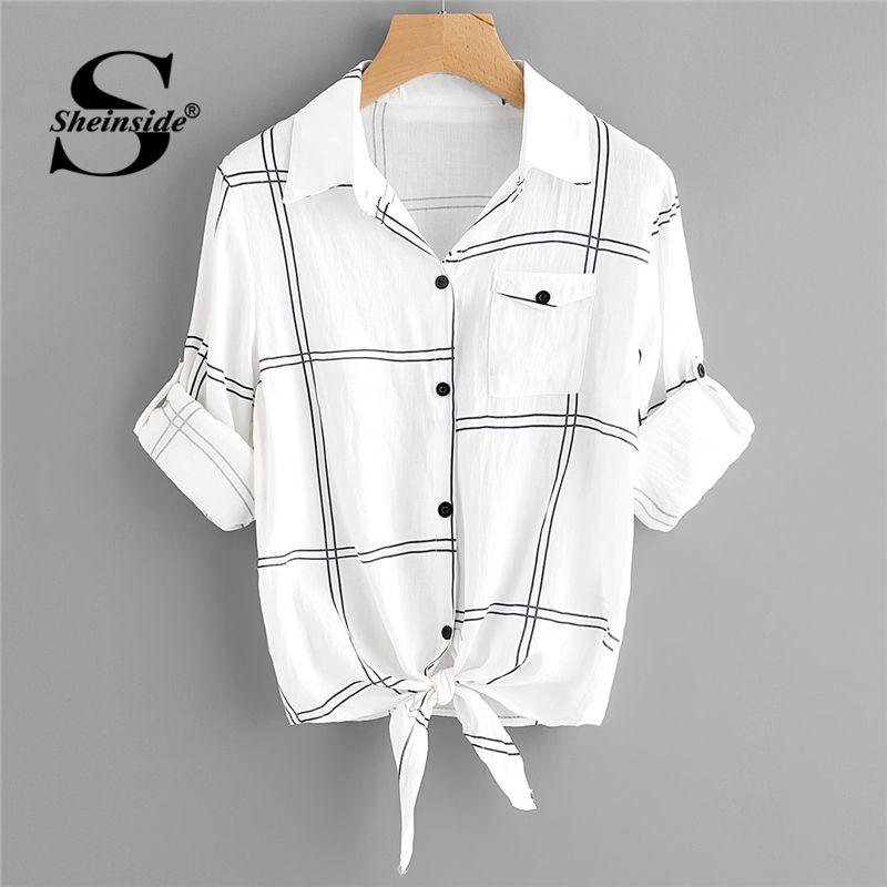 Sheinside Black and White Turn <font><b>down</b></font> Collar Casual Tee Office Ladies Roll Up Sleeve Checked Knot Front Plaid Women Summer T-shirt