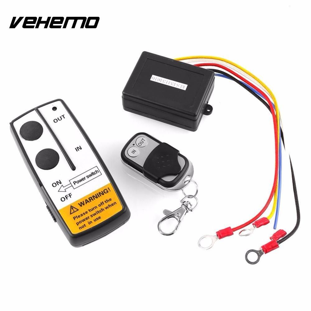 Vehemo WIRELESS REMOTE CONTROL KIT FOR TRUCK For JEEP or ATV WINCH Dual Remote 12V