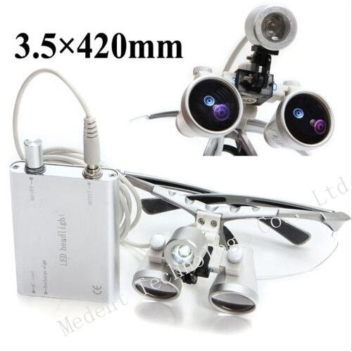 3.5X420mm Dental magnifier Silver Binocular dental Loupe Optical Glass + Portable LED Head Light Lamp CE/FDA