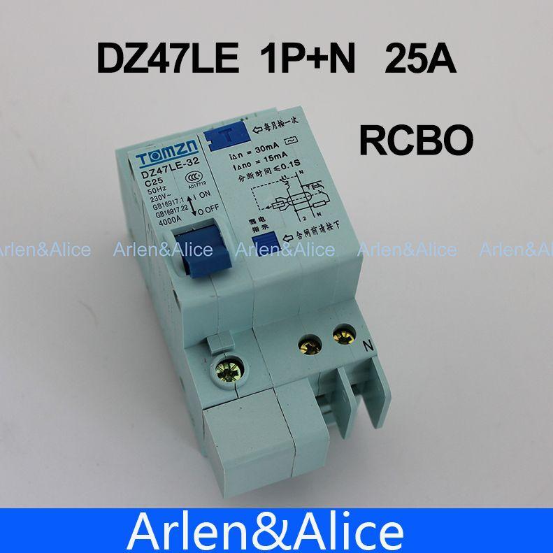 DZ47LE 1 P + N 25A C typ 230 V ~ 50 HZ/60 HZ fehlerstromschutzschalter mit überstromschutz und Leck RCBO