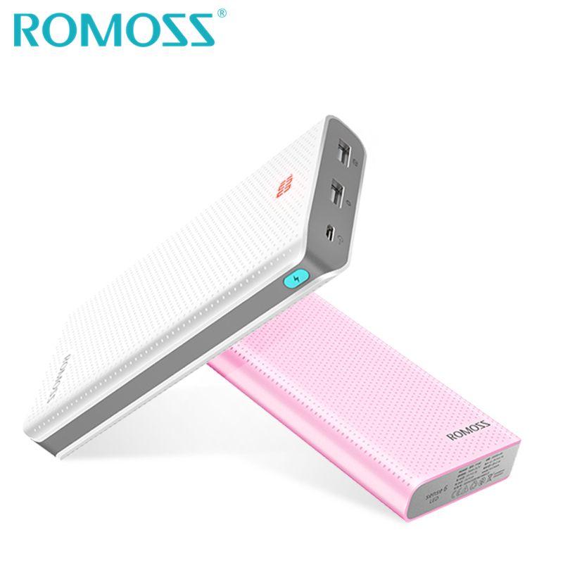 Original ROMOSS Powerbank 20000 mAh Sense6 LED batterie de secours 18650 batterie externe boîte chargeur de téléphone externe avec LED caché